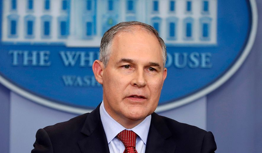 Environmental Protection Agency administrator Scott Pruitt speaks in the Brady Press Briefing Room of the White House in Washington, June 2, 2017. (AP Photo/Pablo Martinez Monsivais) ** FILE **