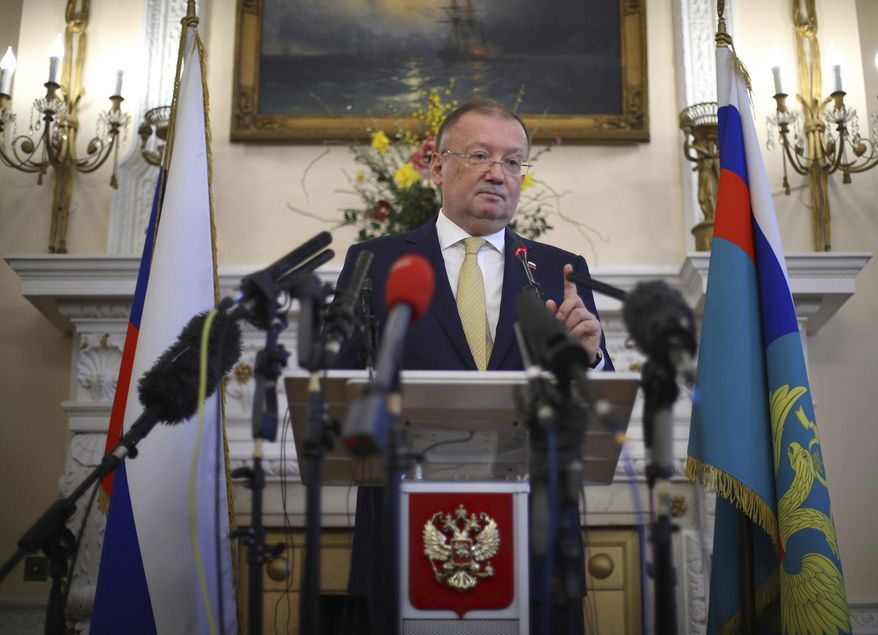 Russian ambassador to the UK Alexander Yakovenko speaks about the recent Salisbury incident, during a news conference at the Russian Embassy in London, Thursday April 5, 2018.  Britain has blamed Russia for the March 4 nerve agent attack on former double agent Sergei Skripal and his daughter Yulia in Salisbury, England. (Yui Mok/PA via AP)