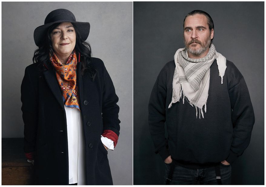 This combination photo shows director Lynne Ramsay, left, and Joaquin Phoenix at the Music Lodge during the Sundance Film Festival in January 2018, in Park City, Utah. The film, which won several awards at last year's Cannes Film Festival, has drawn rave reviews for both Ramsay and Phoenix. (Photo by Taylor Jewell/Invision/AP)