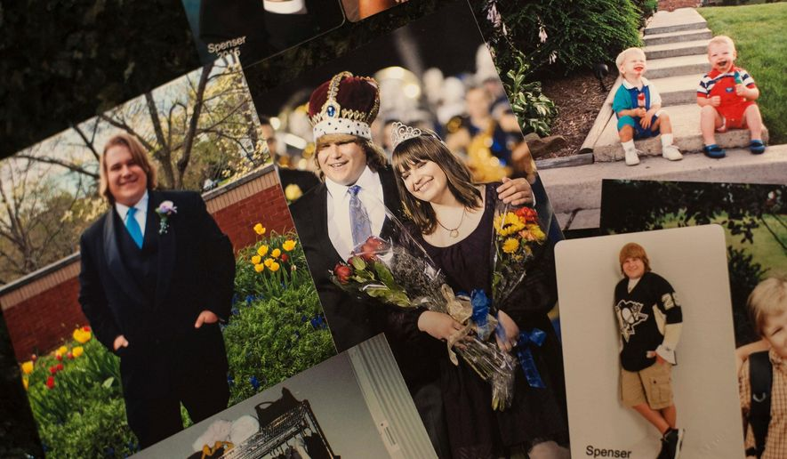 In this Thursday, March 22, 2018 file photo, a photo of Spenser Flowers as homecoming king at Hampton Township High School in 2014 is surrounded by other photos from his life in a collage at his parents' home in Hampton Township, Pa. After Flowers' died of an opioid overdose in January of 2017, Hampton schools launched a drug prevention crusade and his mother, Tina Flowers, launched the non-profit Spencer's Voice to combat drug abuse in young people. (Stephanie Strasburg/Pittsburgh Post-Gazette via AP)/Pittsburgh Post-Gazette via AP)