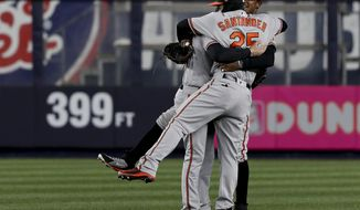 Baltimore Orioles right fielder Anthony Santander (25) celebrates with center fielder Adam Jones (10) and left fielder Craig Gentry (14) after they defeated the New York Yankees in a baseball game, Thursday, April 5, 2018, in New York. (AP Photo/Julie Jacobson)