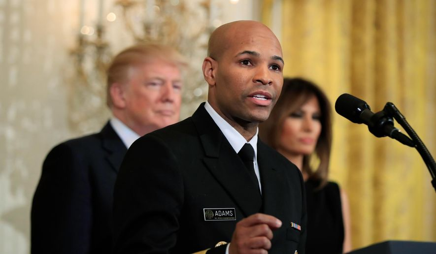 In this Feb. 13, 2018, file photo, Surgeon General Jerome Adams speaks during a National African American History Month reception hosted by President Donald Trump and first lady Melania Trump in the East Room of the White House in Washington. (AP Photo/Manuel Balce Ceneta, File)