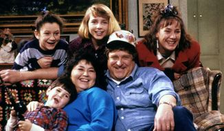 Roseanne (ABC) season 1, Fall 1988; Shown: [top] Sara Gilbert, Alicia Goranson, Laurie Metcalf [on sofa] Michael Fishman, Roseanne, John Goodman