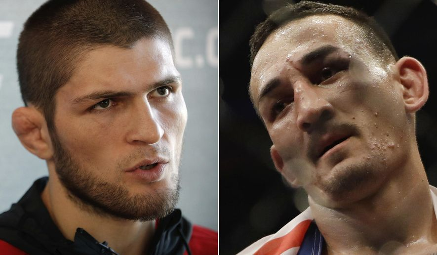 FILE - At left, in a March 2, 2017, file photo, Khabib Nurmagomedov, of Russia, speaks with the media during a news conference for UFC 209 in Las Vegas. At right, in a June 4, 2017, file photo, Max Holloway is shown after defeating Jose Aldo in a UFC featherweight mixed martial arts bout in Rio de Janeiro, Brazil. The UFC 223 main event of Nurmagomedov vs. Holloway will be for the lightweight championship on Saturday, April 7, 2018. Both fighters have plenty to prove in New York. (AP Photo/File)