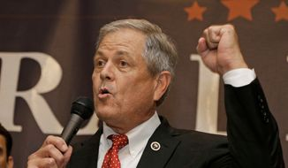 In this Tuesday, June 20, 2017, file photo, Republican Ralph Norman speaks to supporters at a campaign party in Rock Hill, S.C., after winning South Carolina's 5th Congressional District. Norman pulled out his own loaded handgun during a meeting with constituents Friday, April 6, 2018, to make a point that guns are dangerous only in the hands of criminals. (AP Photo/Chuck Burton, File)