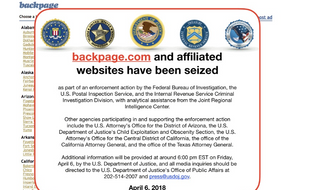 Screen capture of backpage.com from the afternoon of Friday, April 6, 2018, showing the classified site as seized by federal authorities.