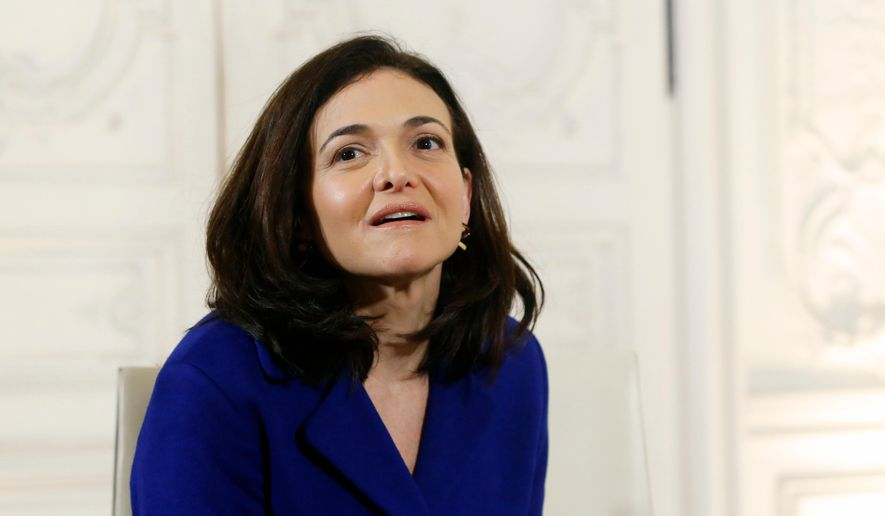 "In this Jan. 22, 2018, file photo, Operating Officer of Facebook Sheryl Sandberg attends a meeting with France's President Emmanuel Macron, during the ""Choose France"" summit, at the Chateau de Versailles, outside Paris. (AP Photo/Thibault Camus, Pool, File)"