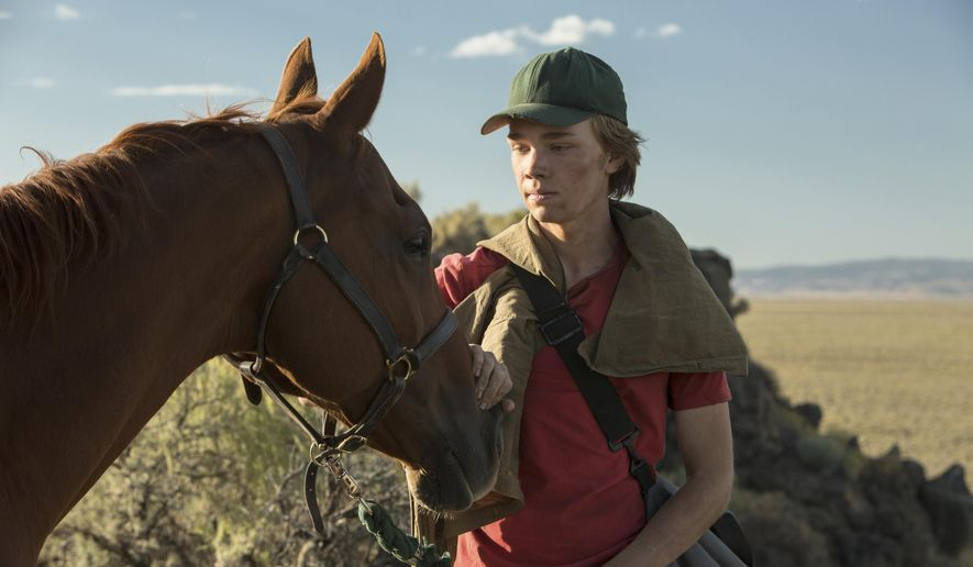 """This image released by A24 films shows Charlie Plummer in a scene from the film, """"Lean on Pete."""" (Scott Patrick Green/A24 via AP)"""