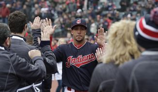 Cleveland Indians' Michael Brantley is introduced before a home-opener baseball game against the Kansas City Royals, Friday, April 6, 2018, in Cleveland. Dogged by injuries the past two seasons, Brantley was activated from the 15-day disabled list before Cleveland played the home-opener. (AP Photo/Tony Dejak)
