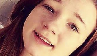 """This undated photo provided by Amanda Hunt shows a selfie of her niece Brelynne """"Breezy"""" Otteson. Prosecutors said 17-year-old Otteson and 18-year-old Riley Powell were bound and stabbed after visiting a friend whose boyfriend become enraged she'd invited a male visitor into their home. Charging documents say 41-year-old Jerrod Baum killed both and tossed the bodies down an abandoned Utah mine shaft. (Amanda Hunt via AP)"""