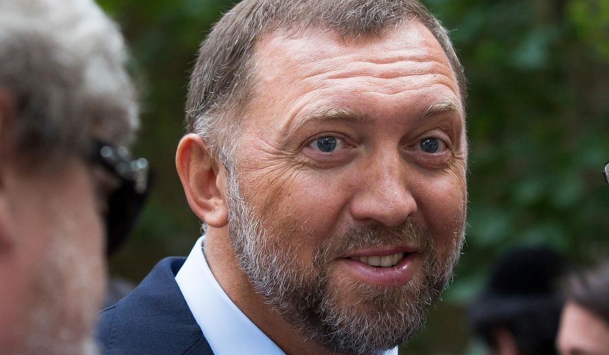 FILE- In this file photo taken on Thursday, July 2, 2015, Russian metals magnate Oleg Deripaska attends Independence Day celebrations at Spaso House, the residence of the American Ambassador, in Moscow, Russia.  Sanctions announced Friday April 6, 2018, are targeting 17 Russian government officials and seven Russian oligarchs, including Deripaska, who is being targeted with more comprehensive U.S. sanctions according to officials.(AP Photo/Alexander Zemlianichenko, File)