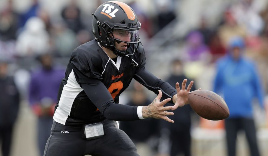 Former Heisman Trophy-winning quarterback Johnny Manziel (2) takes part in a developmental Spring League game, Saturday, April 7, 2018, in Austin, Texas. Manziel is hoping to impress NFL scouts in his bid to return to the league. (AP Photo/Eric Gay) ** FILE **