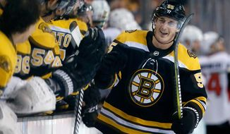 Boston Bruins' Noel Acciari (55) celebrates his goal during the third period of an NHL hockey game against the Ottawa Senators in Boston, Saturday, April 7, 2018. The Bruins won 5-2. (AP Photo/Michael Dwyer)