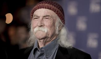 """David Crosby on Saturday evening wrote on Twitter """"oh boy ... burn baby burn"""" while the news was developing of the four-alram fire at Trump Tower that killed 67-year-old art dealer Todd Brassner. (Associated Press)"""