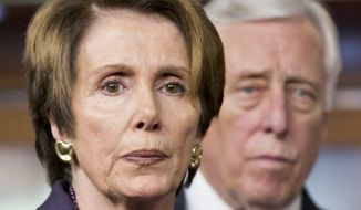House Minority Leader Nancy Pelosi, D-Calif., is joined by Minority Whip Steny Hoyer, D-Md., to discuss the unfinished work of Congress and the struggle for Republican and Democratic budget negotiators to reach a compromise, at a news conference on Capitol Hill in Washington, Thursday, Dec. 5, 2013. (AP Photo/J. Scott Applewhite) ** FILE **