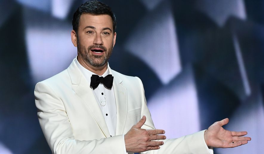 """After some thought, I realize that the level of vitriol from all sides (mine and me included) does nothing good for anyone and, in fact, is harmful to the country,"" Jimmy Kimmel said in a statement he posted to Twitter on Sunday. (Associated Press)"