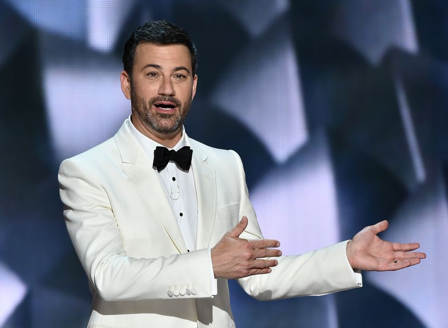 """""""After some thought, I realize that the level of vitriol from all sides (mine and me included) does nothing good for anyone and, in fact, is harmful to the country,"""" Jimmy Kimmel said in a statement he posted to Twitter on Sunday. (Associated Press)"""