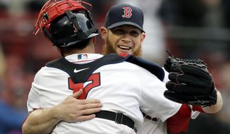 Boston Red Sox's Christian Vazquez, left, celebrates with relief pitcher Craig Kimbrel, right, after they defeated the Tampa Bay Rays in a baseball game, Sunday, April 8, 2018, in Boston. (AP Photo/Steven Senne)