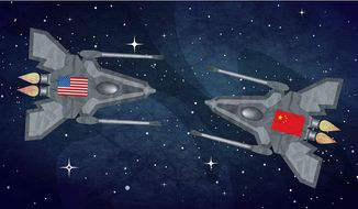 Illustration on weaponizing space by Greg Groesch/The Washington Times