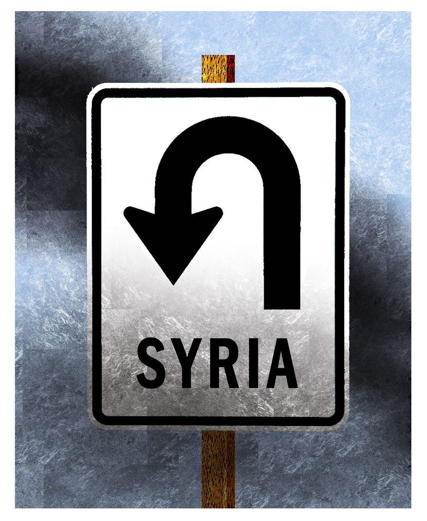 Illustration on changing course in Syria by Alexander Hunter/The Washington Times