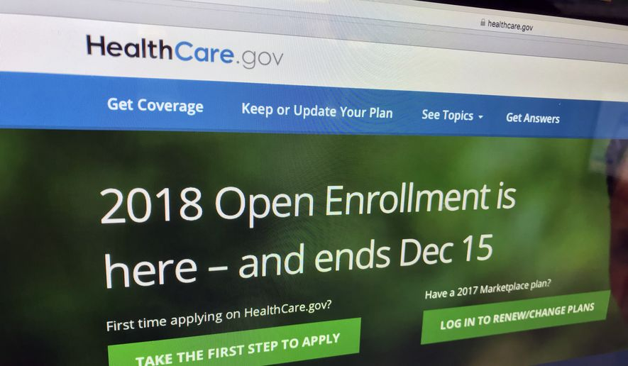 A screenshot for HealthCare.gov during 2018 open enrollment is shown here. (Associated Press/File) **FILE**