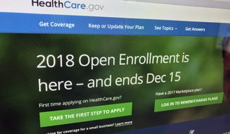 The HealthCare.gov website is photographed in Washington on Dec. 15, 2017. A burst of sign-ups is punctuating the end of a tumultuous year for former President Barack Obamas health care law. Strong consumer interest around Fridays enrollment deadline for 2018 was seen as validation for the programs subsidized individual health insurance. But the Affordable Care Acts troubles arent over. Even if full repeal now seems off the table, actions by the Republican-led Congress and the Trump administration could undermine the ACAs insurance markets. (AP Photo/Jon Elswick