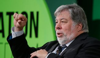 "In this July 3, 2017, file photo, Apple co-founder Steve Wozniak gestures as he attends a conference titled ""The Innovation Summit"" in Milan, Italy. Wozniak is shutting down his Facebook account as the social media giant struggles to cope with the worst privacy crisis in its history. (AP Photo/Luca Bruno, File)"