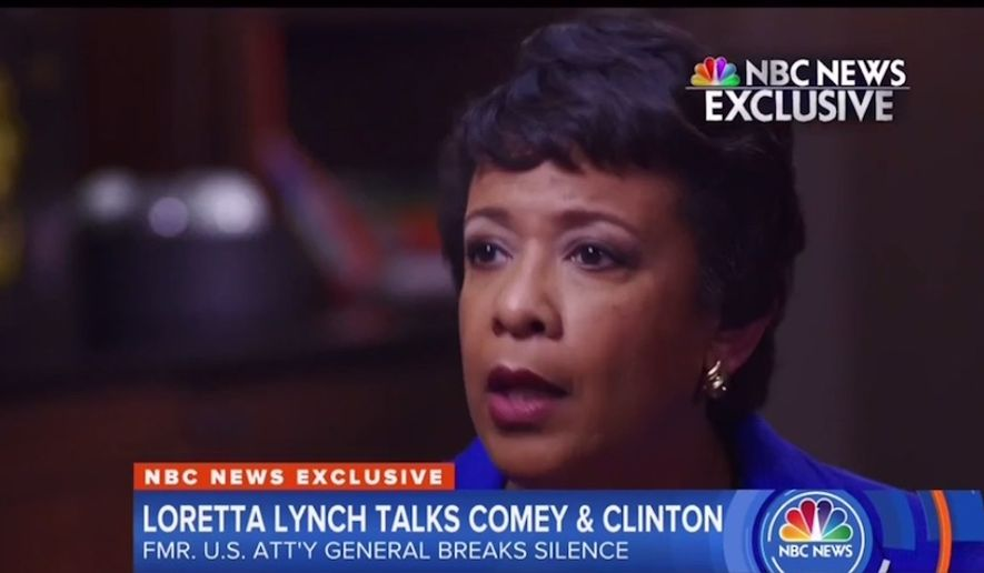 Former U.S. Attorney General Loretta Lynch speaks with NBC News for an exclusive interview airing April 9, 2018. (Image: NBC News screenshot)