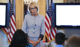 Education Secretary Betsy DeVos speaks during a discussion with first lady Melania Trump and students regarding the issues they are facing in the Blue Room of the White House in Washington, Monday, April 9, 2018. (AP Photo/Manuel Balce Ceneta)
