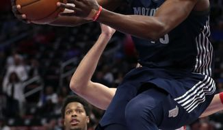 Detroit Pistons forward Anthony Tolliver makes a layup during the first half of an NBA basketball game against the Toronto Raptors, Monday, April 9, 2018, in Detroit. (AP Photo/Carlos Osorio)