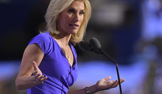 """FILE - In this Wednesday, July 20, 2016, file photo, conservative political commentator Laura Ingraham speaks during the third day of the Republican National Convention in Cleveland. Ingraham returned to Fox News Channel, Monday, April 9, 2018, with a passionate speech about what she called """"Stalinist"""" liberal bullies attempting to stifle the free speech of conservatives. Several advertisers have dropped her program after she tweeted about a Parkland, Florida school shooting survivor supposedly whining about colleges he didn't get accepted into. (AP Photo/Mark J. Terrill, File)"""