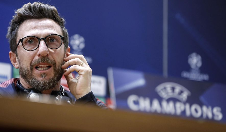 Roma coach Eusebio Di Francesco attends a press conference at Trigoria training ground in Rome, Monday April 9, 2018, on the eve of the Champions League quarter-final, second leg soccer match against FC Barcelona . (Riccardo Antimiani /ANSA via AP)