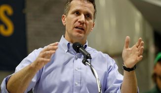 FILE - In this Jan. 29, 2018, file photo, Missouri Gov. Eric Greitens speaks in Palmyra, Mo. Attorneys defending Greitens against an invasion-of-privacy charge are raising doubts about the testimony of a woman with whom he had an affair. In a court filing dated Sunday, April 8, 2018, his attorneys say the woman testified she never saw Greitens with a camera or phone on the day he is accused of taking a partially nude photo of her while she was blindfolded and bound. (AP Photo/Jeff Roberson, File)