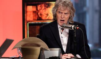 """FILE - In this May 29, 2015, file photo, cable television and radio personality Don Imus appears on his last """"Imus in the Morning"""" program, on the Fox Business Network, in New York. The sprawling cattle ranch in northern New Mexico owned by Imus is for sale, The Santa Fe New Mexico reports. The 2,400-acre ranch near the small community of Ribera, N.M., about 45 miles east of Santa Fe, has been used to benefit children afflicted by cancer. (AP Photo/Richard Drew, File)"""