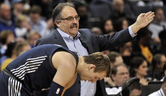 Detroit Pistons head coach Stan Van Gundy, top, talks with guard Luke Kennard in the first half of an NBA basketball game against the Memphis Grizzlies, Sunday, April 8, 2018, in Memphis, Tenn. (AP Photo/Brandon Dill)