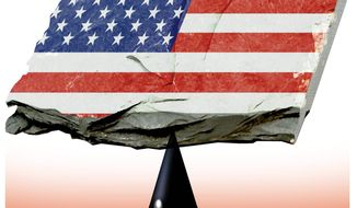 Illustration on the abundance of American shale oil resourses by Alexander Hunter/The Washington Times