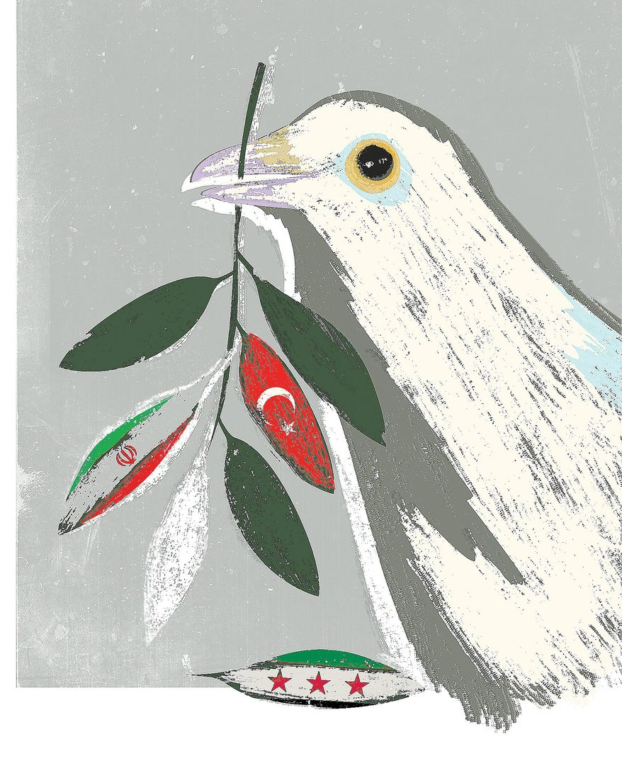 Illustration on Syria's role in middle-east peace by Linas Garsys/The Washington Times