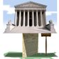 Illustration on balance in the Supreme Court by Alexander Hunter/The Washington Times