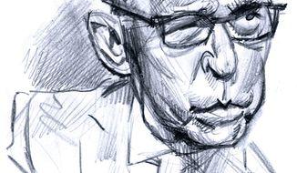 Illustration of Larry Kudlow by Alexander Hunter/The Washington Times