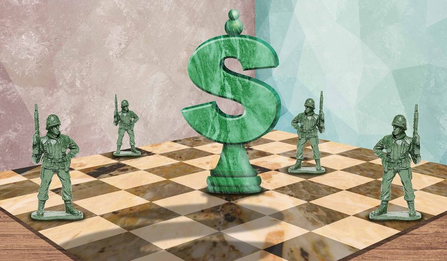 Illustration on military preparedness and budgeting by Greg Groesch/The Washington Times