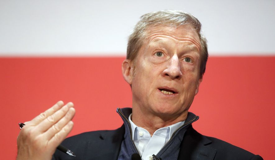 """Political activist Tom Steyer speaks during a """"Need to Impeach"""" town hall event at the Clifton Cultural Arts Center, Friday, March 16, 2018, in Cincinnati. Steyer, a billionaire activist also involved in environmental causes, founded the """"Need to Impeach"""" petition campaign on claims that President Donald Trump meets the criteria for impeachment. (AP Photo/John Minchillo) ** FILE **"""