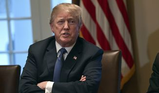 President Donald Trump speaks in the Cabinet Room of the White House in Washington, Monday, April 9, 2018, at the start of a meeting with military leaders. (AP Photo/Susan Walsh)