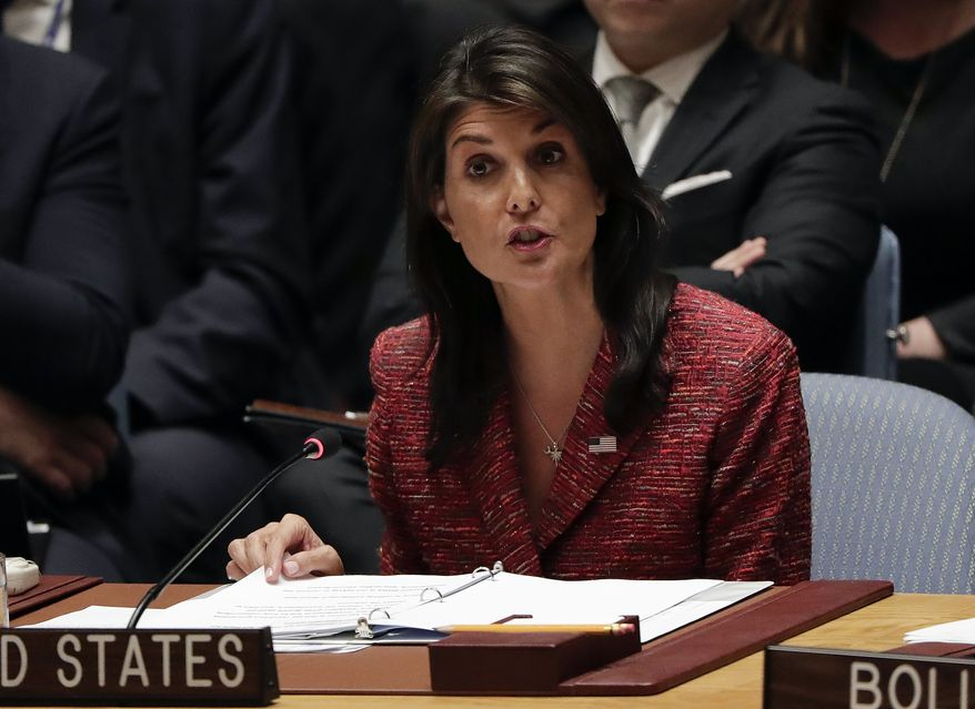 United States Ambassador to the United Nations Nikki Haley speaks during a Security Council meeting, Tuesday, April 10, 2018, at United Nations headquarters. (AP Photo/Julie Jacobson)