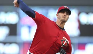 Minnesota Twins pitcher Jake Odorizzi throws against the Houston Astros during the first inning of a baseball game Tuesday, April 10, 2018, in Minneapolis. (AP Photo/Jim Mone)