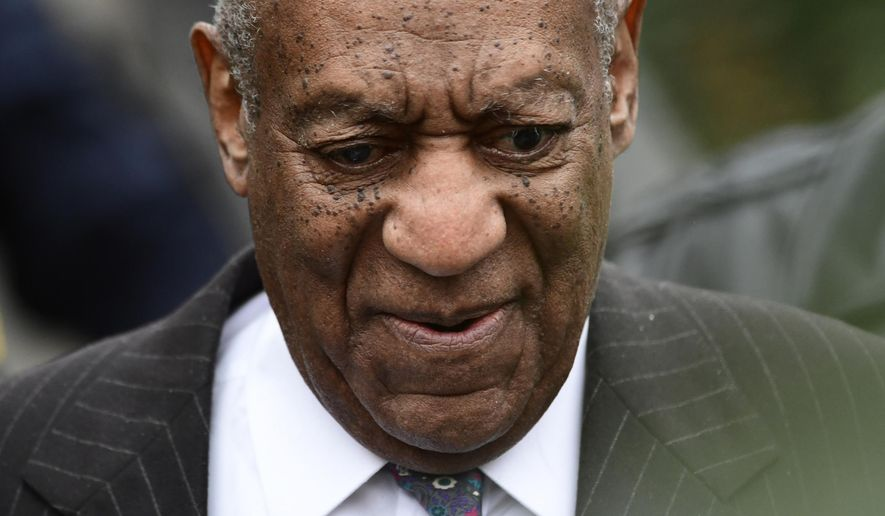 Bill Cosby leaves his sexual assault trial at the Montgomery County Courthouse, Monday, April 9, 2018, in Norristown, Pa. (AP Photo/Corey Perrine)
