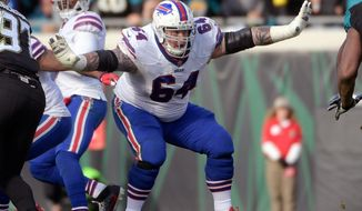 "FILE - In this Jan. 7, 2018, file photo, Buffalo Bills offensive guard Richie Incognito (64) sets up to block against the Jacksonville Jaguars defensive during the second half of an NFL wild-card playoff football game, in Jacksonville, Fla. Bills offensive lineman Richie Incognito texts The Associated Press he's ""done,"" amid reports he is considering retirement after 11 NFL seasons. Incognito followed up the text on Tuesday, April 10, 2018, with a laughing-face emoji and did not respond to further questions seeking clarification. (AP Photo/Phelan M. Ebenhack, File)"