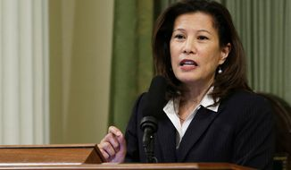 FILE - In this March 23, 2015, file photo, California Supreme Court Chief Justice Tani Cantil-Sakauye delivers her State of the Judiciary address before a joint session of the Legislature at the Capitol in Sacramento, Calif. California's top judge says state courts should disclose the names of judges and other court officials who have entered into settlement agreements to resolve sexual harassment complaints. Cantil-Sakauye said Tuesday, April 10, 2018, she is asking the policymaking body for California's courts, the Judicial Council, to revise rules to make it clear that the information is public and state courts should release it. (AP Photo/Rich Pedroncelli, File)