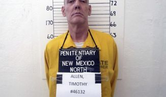 This Feb. 15, 2017, photo from the New Mexico Corrections Department shows inmate Timothy Allen, one of just two men remaining on the New Mexico's death row after the state repealed capital punishment in 2009. Defense attorneys for Allen and Robert Fry Tuesday, April 10, 2018, urged the state Supreme Court to consider an array of similar murder cases resulting in lighter sentences, as justices weigh whether to move forward with the executions in a state that no longer allows death sentences. (New Mexico Corrections Department via AP)