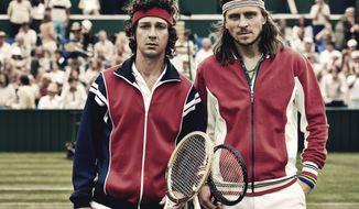 "This image released by Neon shows Shia LaBeouf as John McEnroe, left, and  Sverrir Gudnason as Bjorn Borg from the film ""Borg vs McEnroe."" (Neon via AP)"