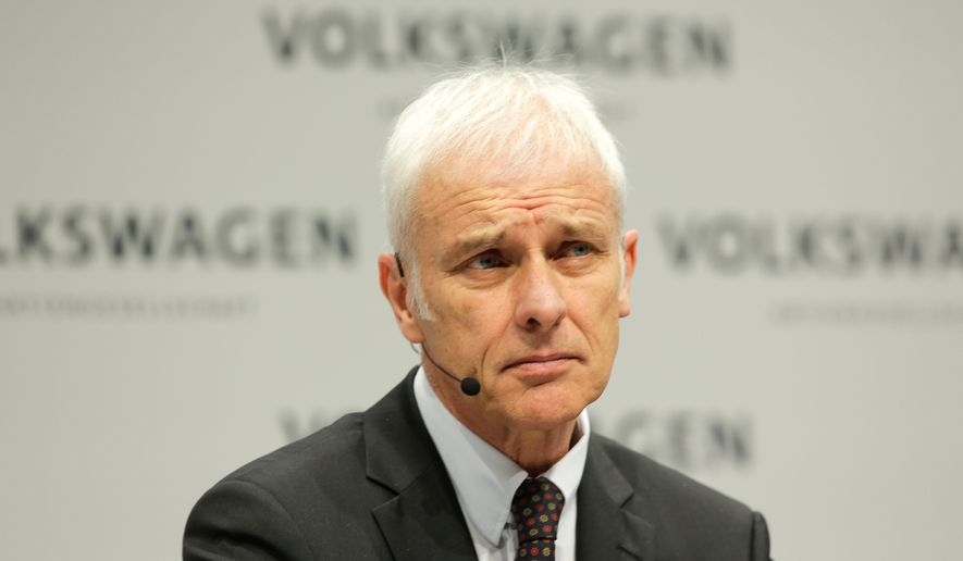 In this March 13, 2018, file photo VW group CEO Matthias Mueller attends the annual media conference of the Volkswagen group in Berlin, Germany. (AP Photo/Markus Schreiber, file)